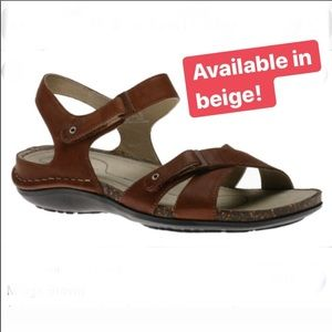 New Rockport Midge beige leather strappy sandals